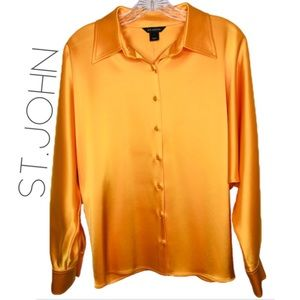 St. John orange silk dolman button top 2 XS 0073